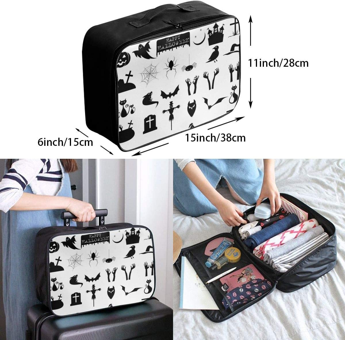 Yunshm Halloween Icons Vector Image Personalized Trolley Handbag Waterproof Unisex Large Capacity For Business Travel Storage