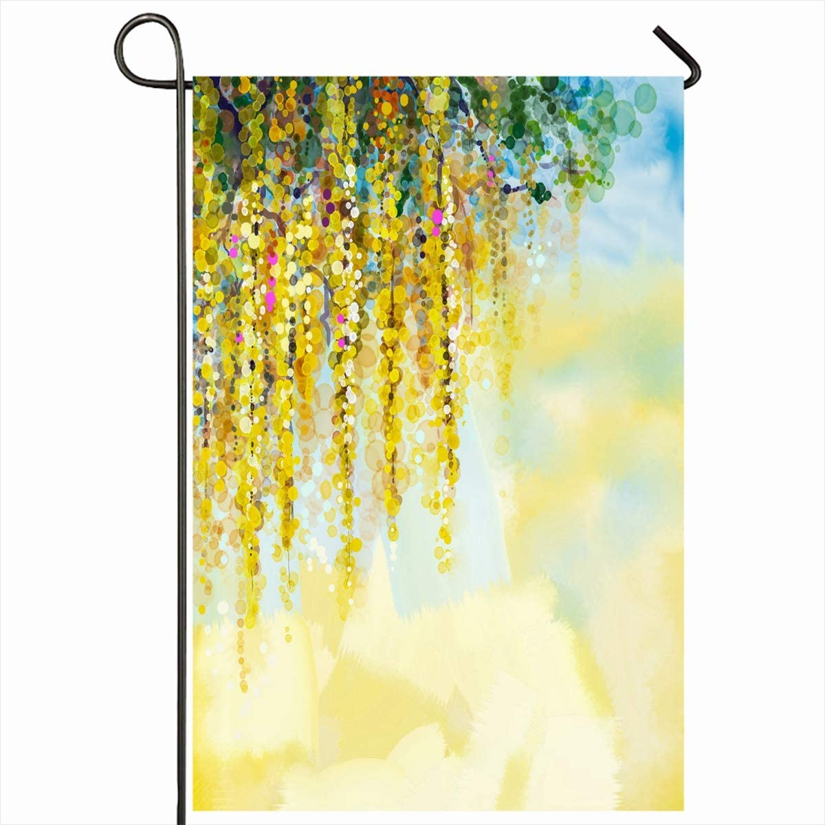 """Ahawoso Outdoor Garden Flags 28""""x40"""" Inch Shine Abstract Flowers Watercolor Painting Spring Yellow Wisteria Nature Green Paint Oil Flora Scenic Vertical Double Sided Home Decorative House Yard Sign"""