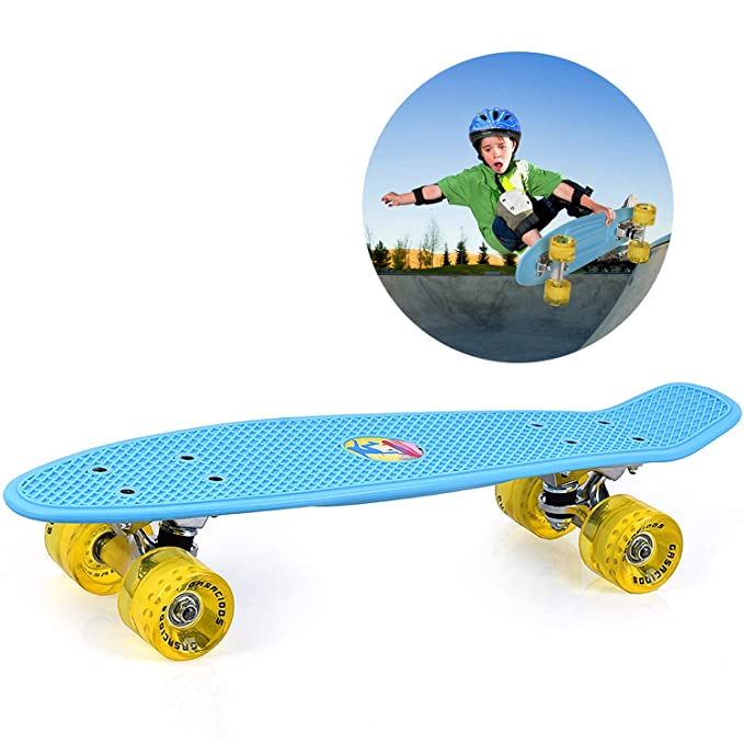 GASACIODS 22 Inch Mini Cruiser Skateboard, Complete Plastic Retro Board with Bendable Deck and Smooth PU Casters/Speed Bearing for Kids Youths Beginners, 220 Ibs