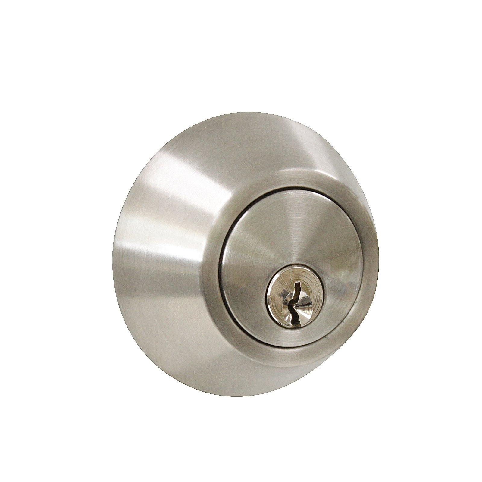 3 Pack Probrico Interior Bedroom Single Cylinder Deadbolt One Keyway Keyed Alike Same Key Safety Bolt Door Lock Lockset in Satin Nickel-Single Deadbolt-101 by Probrico (Image #5)