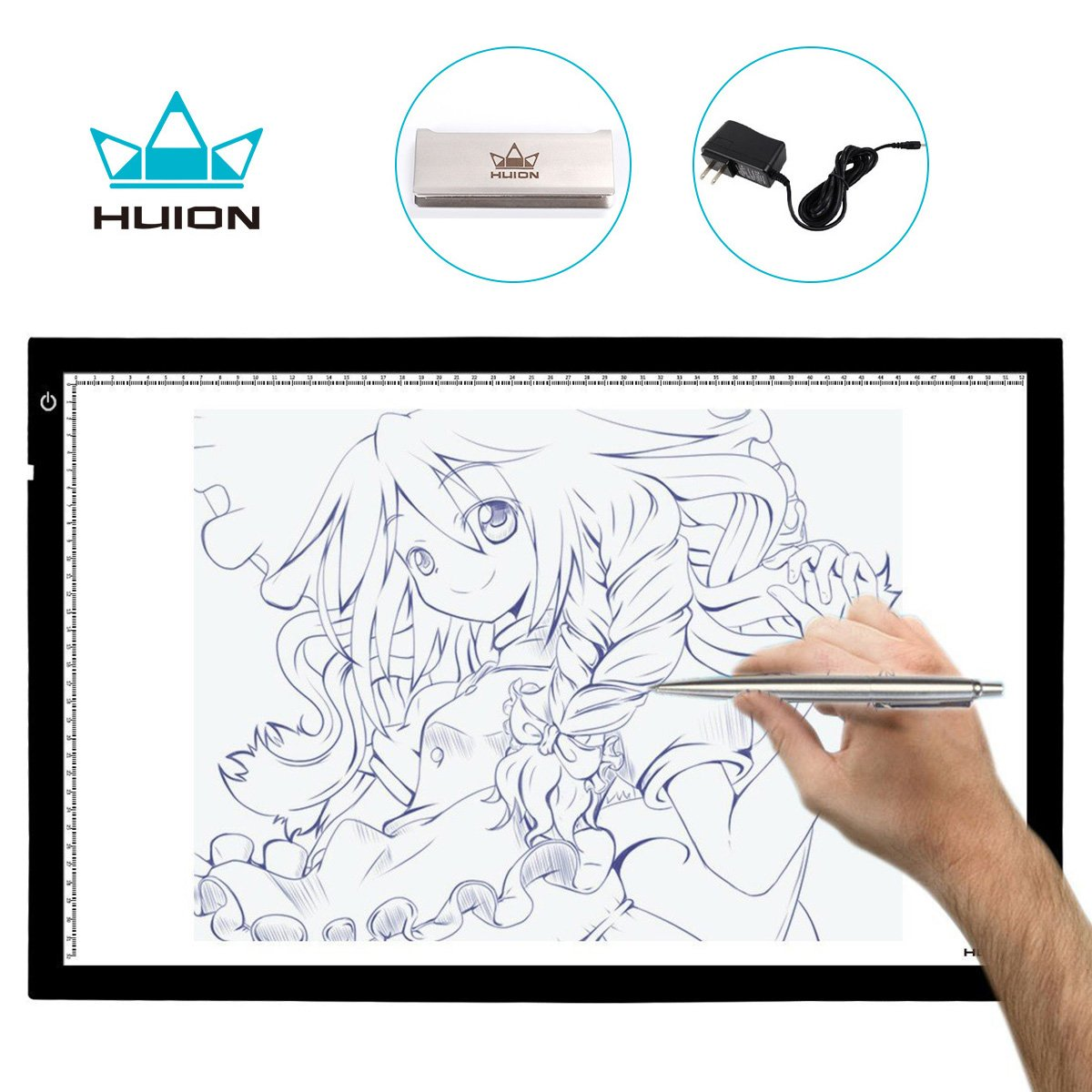 Huion A2 Large Tracing Light Box, AC Powered Light Pad, Adjustable Brightness (23.6-by-15.75 Inches) by Huion