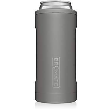 BrüMate Hopsulator Slim Double-walled Stainless Steel Insulated Can Cooler for 12 Oz Slim Cans (Matte Gray)
