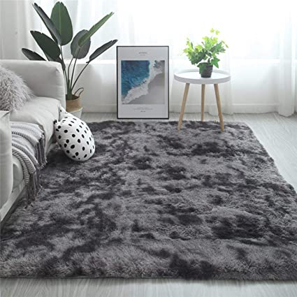 fancytan tapis moderne a poils longs doux au toucher etincelant grand tapis pour salon chambre a coucher tissu gris fonce 160 x 230cm