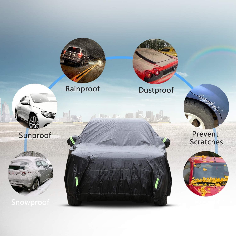 Le Rayon UV la Salet/é Noir- 530x200x150cm Auto B/âche pour Voiture Impermeable Housse de Protection Couverture Etanche Respirant Contre la Pluie