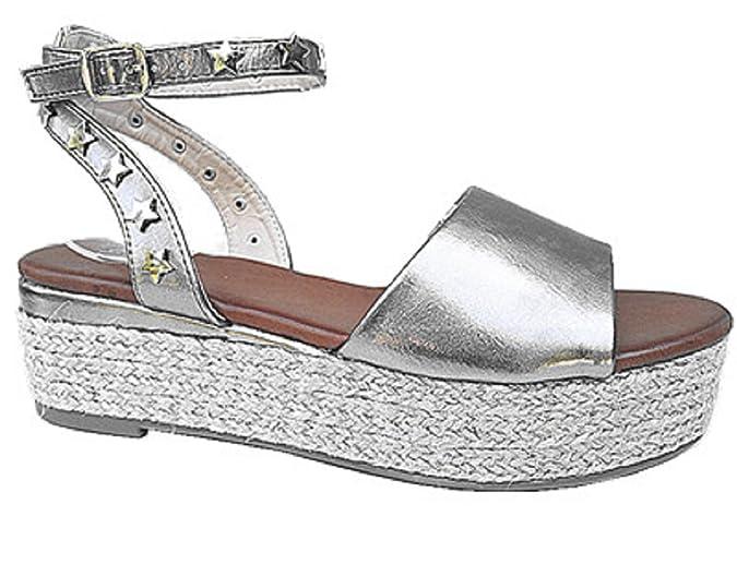 Femme Sandales talons compense 6 CM cloute style espadrille bride A8067