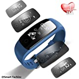 Activity Tracker,Fitness Tracker Watch with Heart Rate Monitor, Touch Screen Waterproof Smart Watch, Stopwatch, Connected Running GPS, Bluetooth Pedometer for Android & iOS Smartphone (Blue)