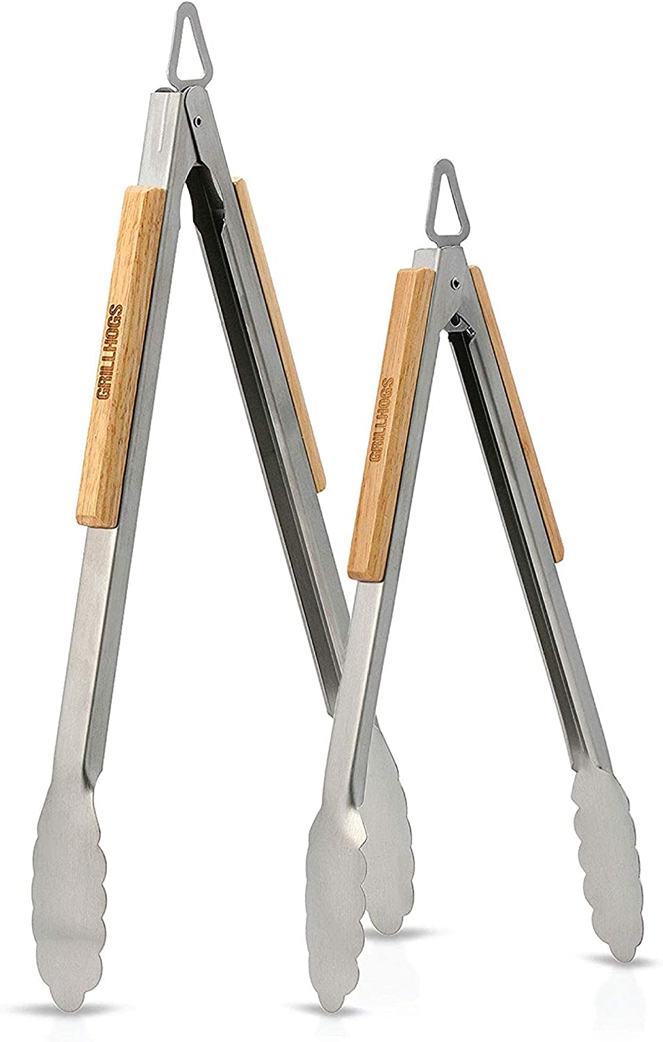 GRILLHOGS Barbecue Grill Tongs, 12 & 16 Inch 2,Pack, Best Metal Kitchen Tongs for Cooking and Grill Accessories, Stainless Steel + Oak Wood BBQ Tongs