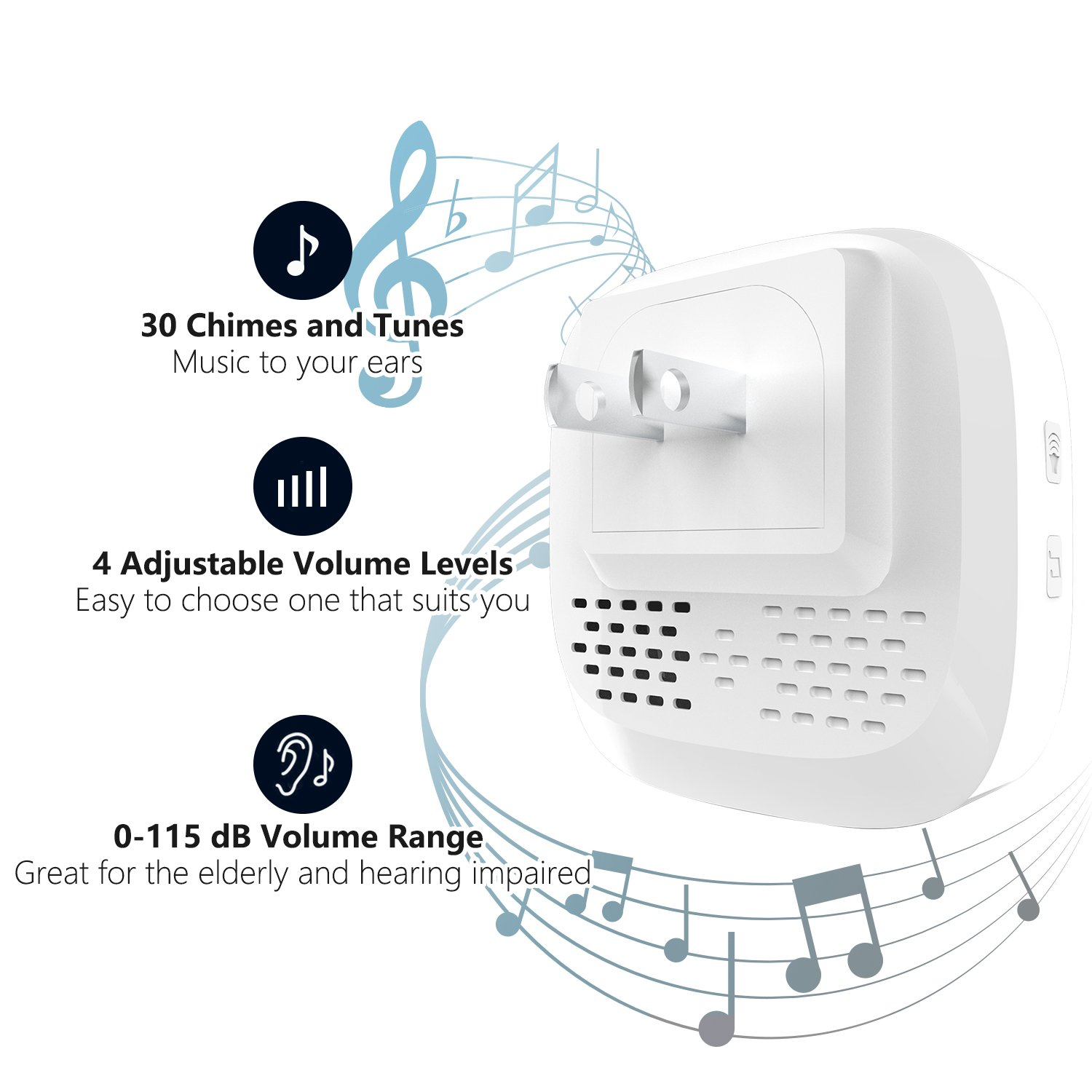 Wireless Doorbell,Rtaneey IP44 Waterproof Door Chime Kit Operating at Over 1476 ft with 2 Plug-In Receivers,30 Melodies,4 Level Volume,LED Indicators,Easy Set Up for Home and Office by Rtaneey (Image #2)