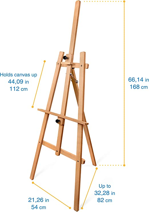 Suitable for Different Range of canvases Adults Adjustable Tripod Studio Painting Easel for Sketching and Art Display Pagos Art Easel Stand Beech Wood Floor Stand Easel Kids and Artists