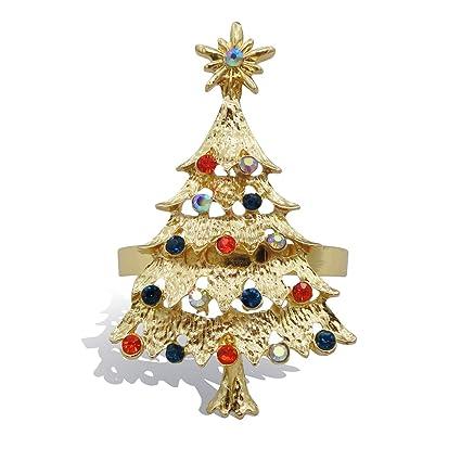 Amazon Com Elehere Christmas Tree Napkin Rings Set Of 8 Holiday