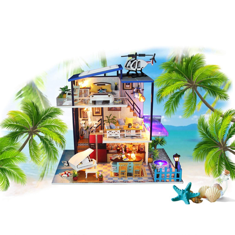 XCXDX Casa De Muñecas De Bricolaje De Madera, Habitación con Vista Al Mar En El ático En Miniatura, Accesorios para Muebles, Juguetes para Adultos De Niños