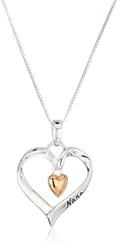 """Two-Tone Sterling Silver and Rose-Gold Flashed """"Nana You Are Loved"""" Heart Pendant ..."""