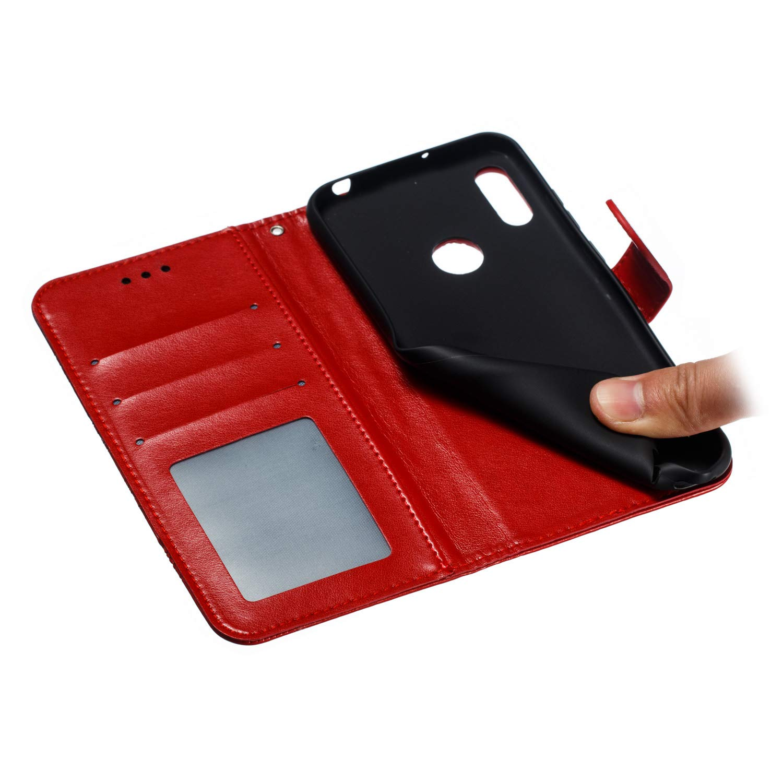 LD Mandala Rose Gold Estampado Mandala Libro de Cuero Billetera Carcasa PU Leather Flip Folio Case Compatible con Huawei P Smart+ 2019 // Honor 20 Lite MRSTER Funda para Huawei P Smart+ 2019