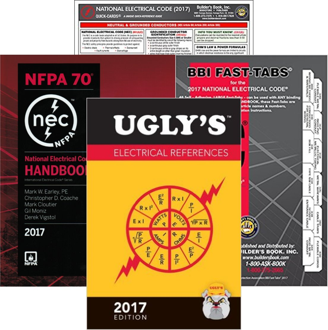 2017 NFPA 70 National Electrical Code, NEC, HANDBOOK, NEC Fast Tabs, NEC Quick Card and Ugly's Electrical References, 2017 Edition, Package