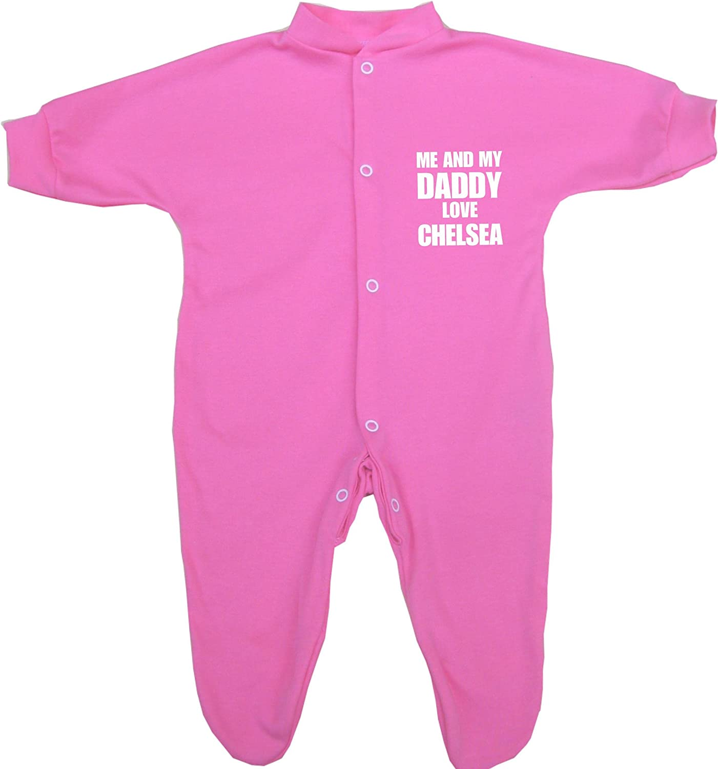 Me and my Dad Love Chelsea Baby Sleepsuit Babygro Newborn 9 mths in 9 Colours