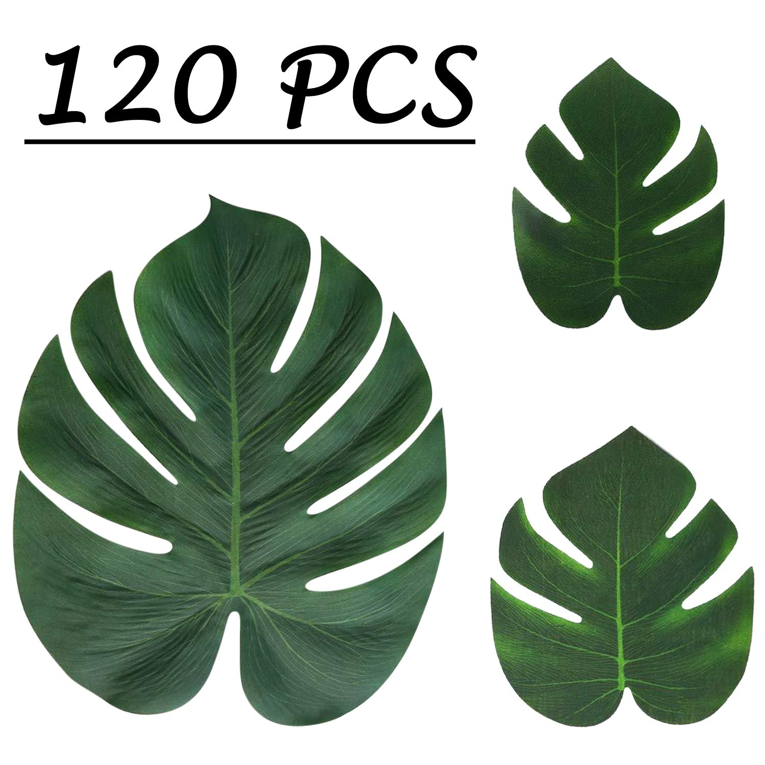 Moon Boat Tropical Palm Leaves Plant Imitation Leaf-Hawaiian/ Luau/Jungle Party Table Decorations (120PCS)