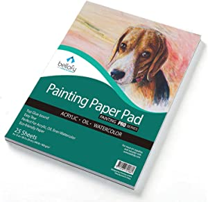 Bellofy Painting Paper Pad - 25 Sheets / 50 Pages - Acrylic Oil Watercolor Cold Pressed Rough Finish Paper for Painting - 9 x 12 inches, 246 lB / 400 GSM - Art Paper for Kids - Watercolor Sketchbooks