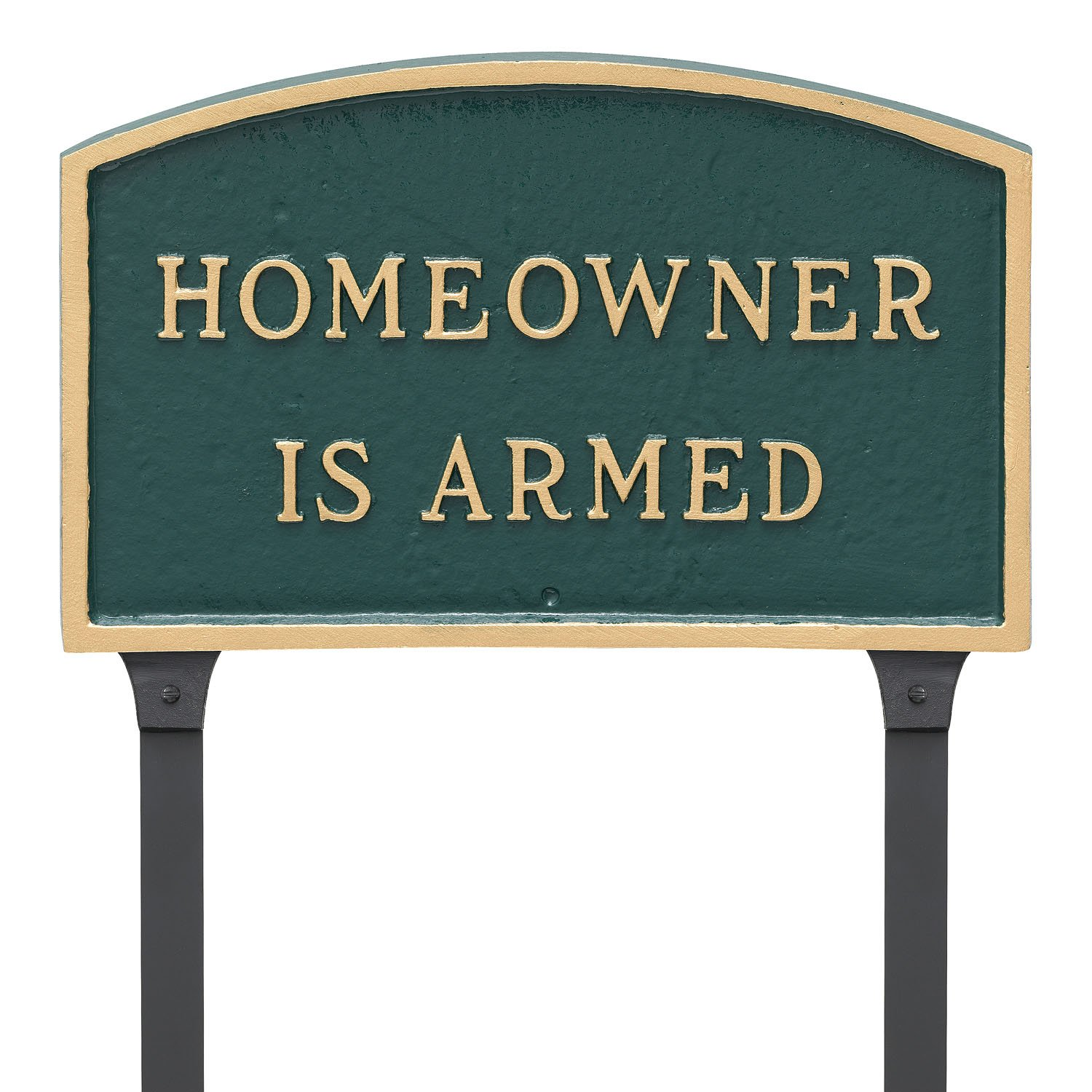 Montague Metal Products 13'' x 21'' Arch Homeowner is Armed Statement Plaque with 23'' Lawn Stake, Green/Gold by Montague Metal Products