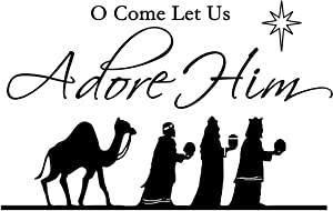 ValueVinylArt O Come Let Us Adore Him (3 Wise Men) Christmas Wall Decal Black (35