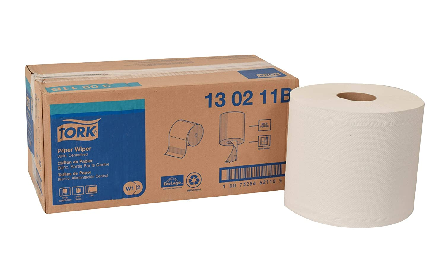 Amazon.com: Tork 130211B Paper Wiper, Centerfeed, 2-Ply, 9.00
