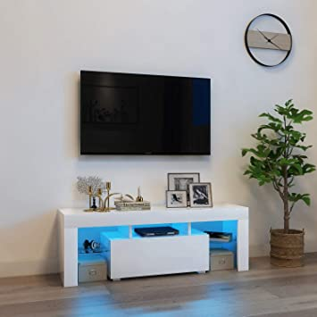 Mueble de TV moderno de 130 cm, color blanco mate y blanco brillante, con luces LED RGB y mando a distancia, estantes de puertas correderas: Amazon.es: Electrónica