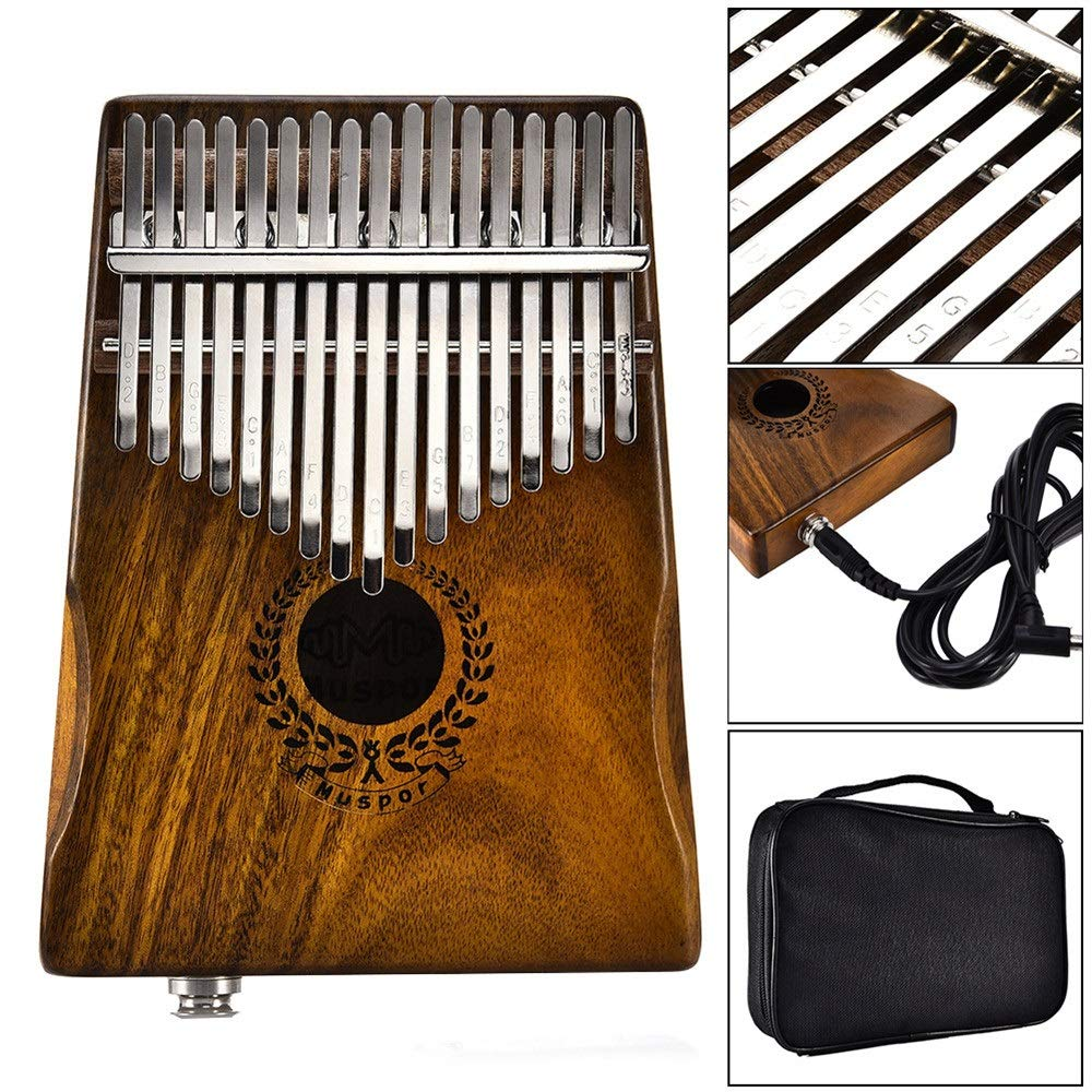 Thumb Piano 17 Keys EQ Kalimba Thumb Piano Natural Acacia Wood Body Metal Engraved Notation Tines Finger Piano With Jack Song Book Tuning Hammer Pickup Carry Bag African Musical Instrument Kids Gifts