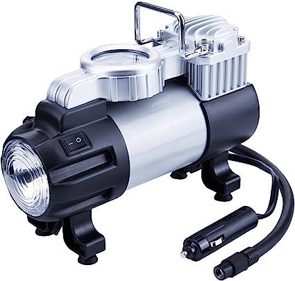 Inflador de neumáticos TIREWELL 12 V – Bomba de metal de disco duro directo de 150 PSI, compresor de aire portátil con luz LED y abrazadera de batería