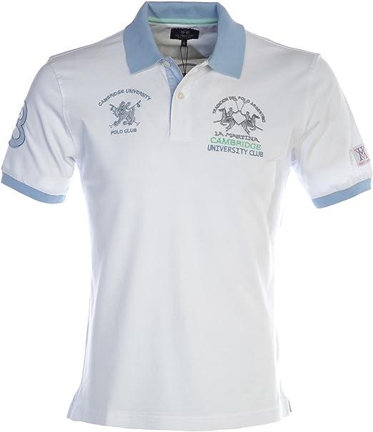 La Martina Hombres Camisa Polo de Piqué Percival Blanco XXXXL ...