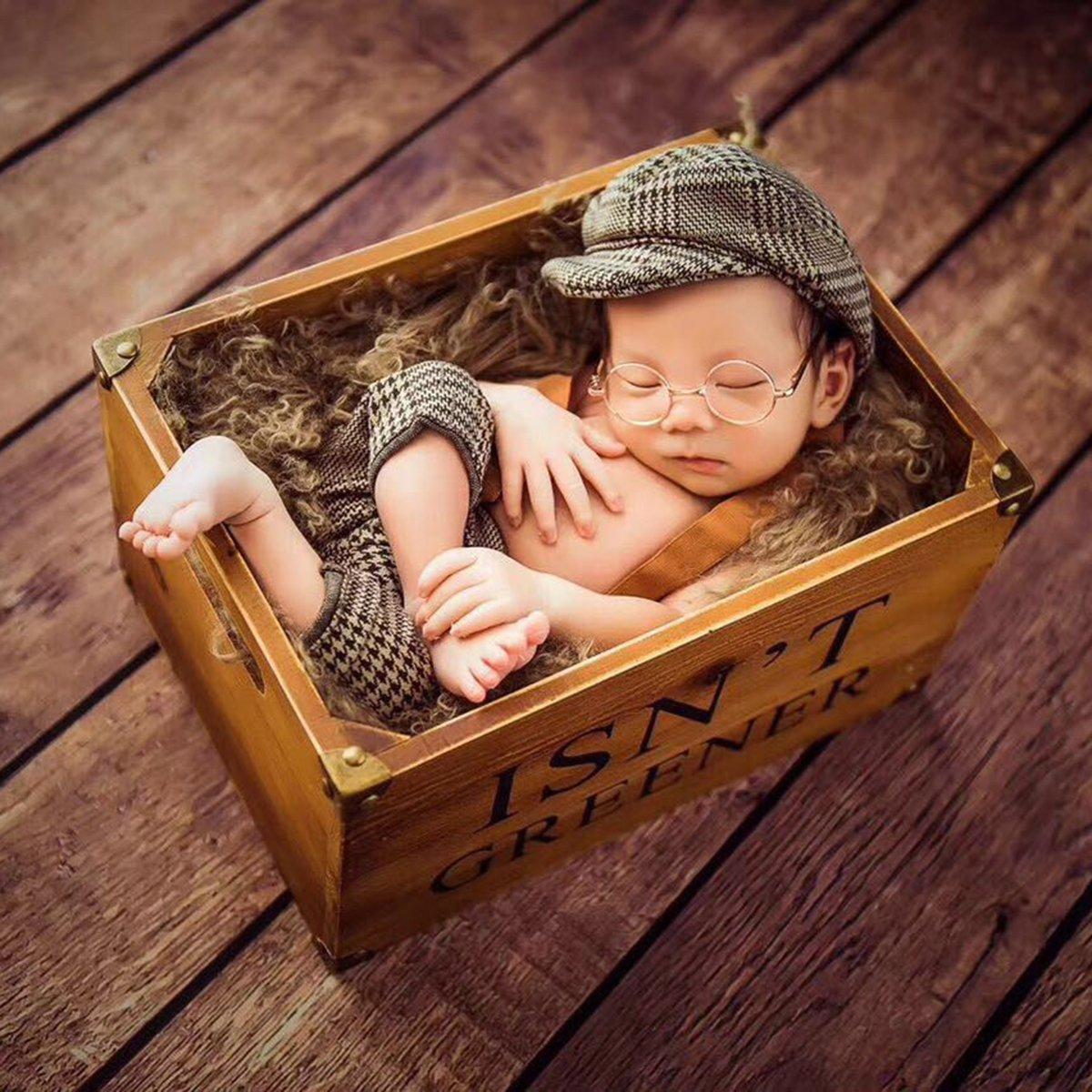 Yeahibaby Neugeborene Fotografie Props Baby-Fotografie-Outfits Plaid Strumpfhosen und Schirmmütze Set (Braun)