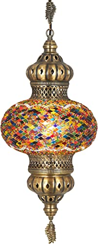Turkish Moroccan Mosaic Glass Handmade Ceiling Pendant Fixture Hanging Lamp Light,7 Ocean