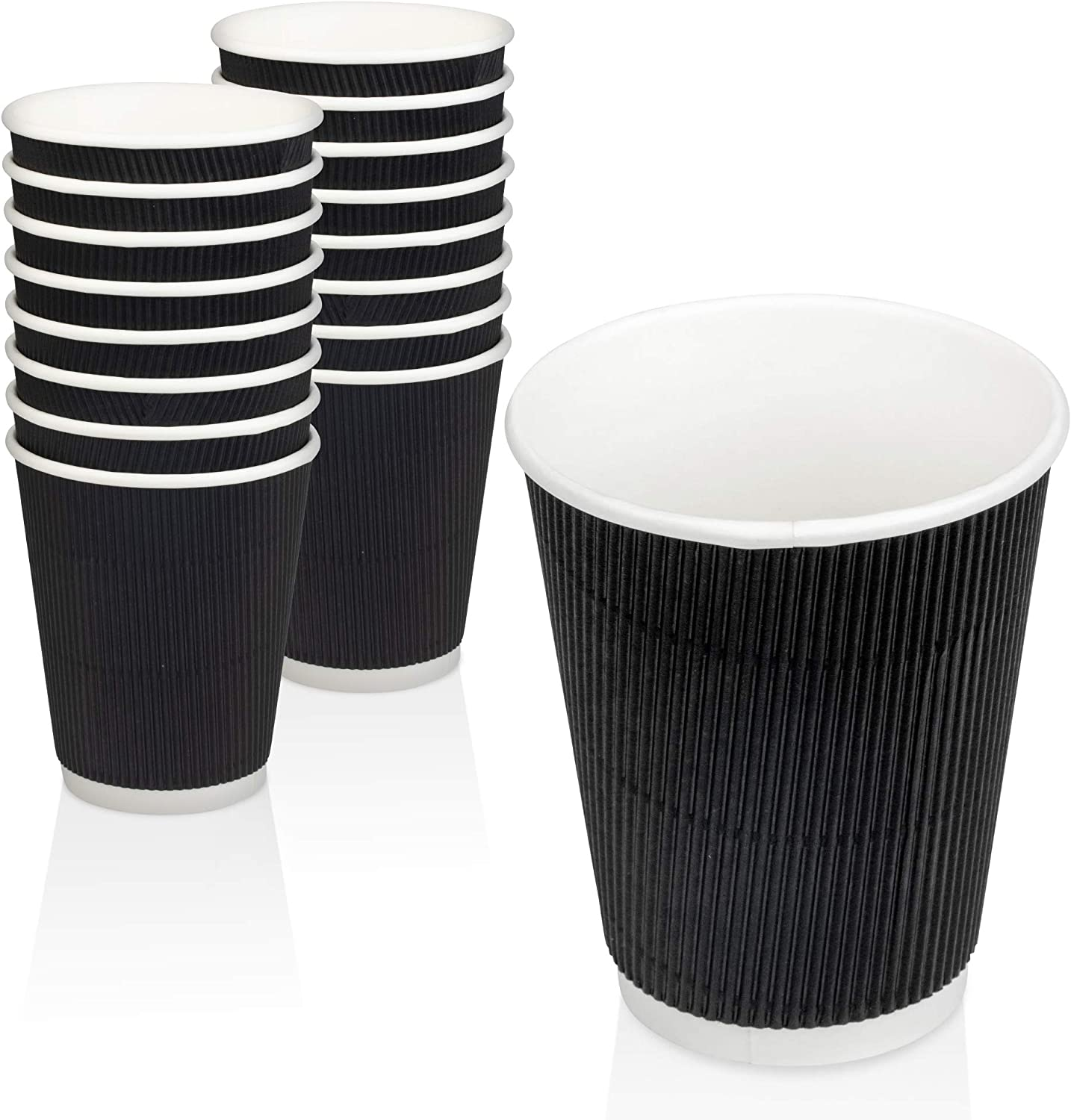 [50 Pack] Disposable Hot Cups - 8oz Black Double Wall Insulated Ripple Sleeves To Go Coffee Cups - Kraft Hot Beverage Cups for Chocolate, Tea, and Cocoa Drinks - Sturdy, Food Safe, and Eco Friendly