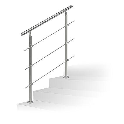 Barandilla para escalera Relaxdays de acero inoxidable, pasamanos adecuado para interior y exterior, 1 m de largo, 2 postes, 3 travesaños, color ...