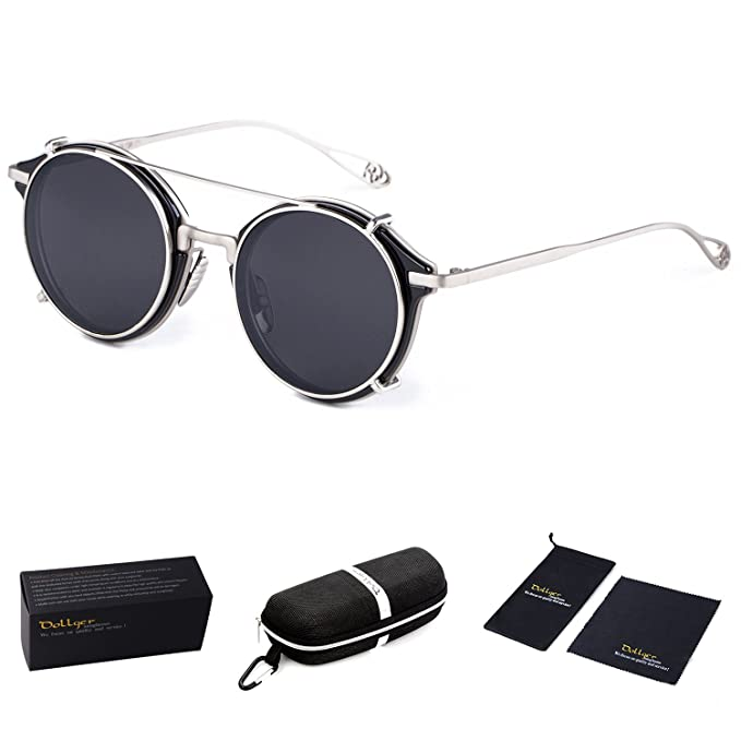 Men's Steampunk Costume Essentials Dollger Clip On Sunglasses Steampunk Style and Round Mirrored Lens $17.99 AT vintagedancer.com