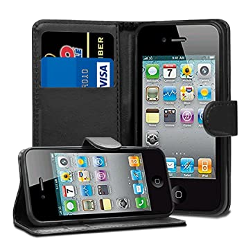 lowest price 2d2bf 3148f Black Leather Flip Wallet Slim Case Cover Pouch With Card Holder For Apple  iPhone 4 4S 4G and Screen Protector With Polishing Cloth And Stylus Pen