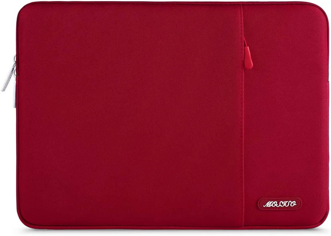 MOSISO Laptop Sleeve Bag Compatible with 13-13.3 inch MacBook Pro, MacBook Air, Notebook Computer, Water Repellent Polyester Vertical Protective Case Cover with Pocket, Red
