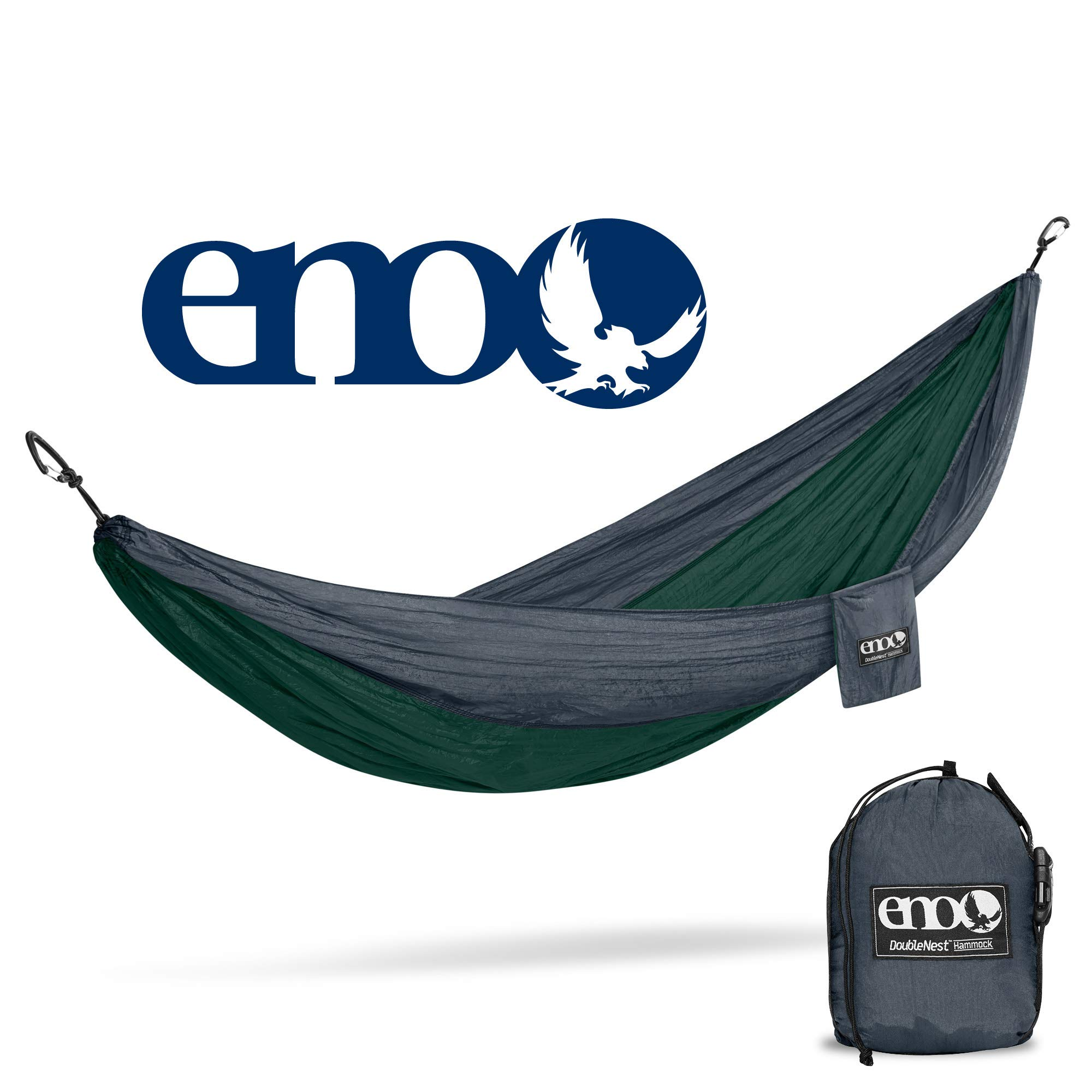 eno - Eagles Nest Outfitters DoubleNest Hammock, Portable Hammock for Two, Forest/Charcoal