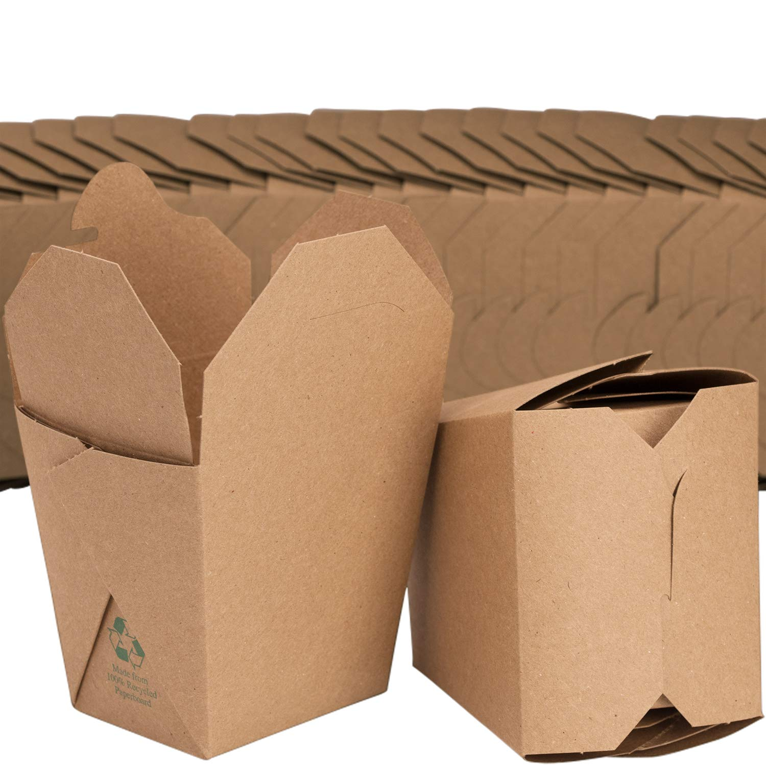 Microwavable Brown Chinese 16 oz Take Out Boxes. 50 Pack by Avant Grub. Stackable Pails Are Recyclable. Ideal Leak And Grease Resistant Pint Size To Go Container For Restaurants and Food Service.
