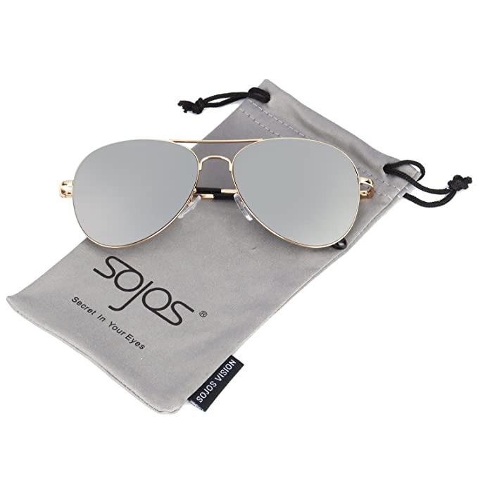 ad94e7ea86 SOJOS Classic Aviator Mirrored Flat Lens Sunglasses Metal Frame with Spring  Hinges SJ1030 with Gold Frame