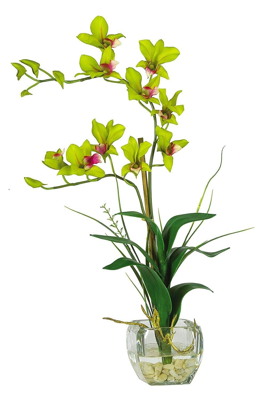 造花 - グリーンの花瓶付きデンドロビウムフラワーアレンジメント 人工 B07KVC2B12