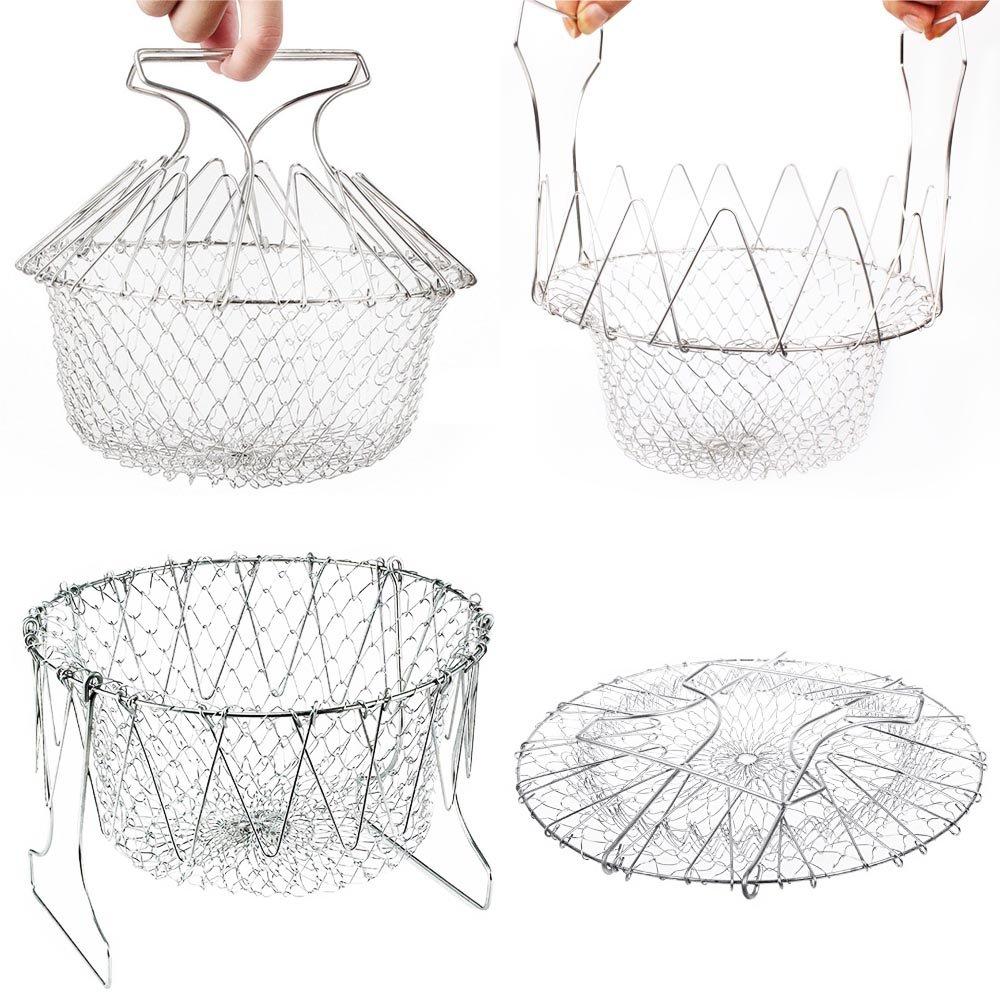 Compra Epochair Cesta de Cocina Multiusos Plegable Utensilio de Cocina (23 cm, Acero Inoxidable) en Amazon.es