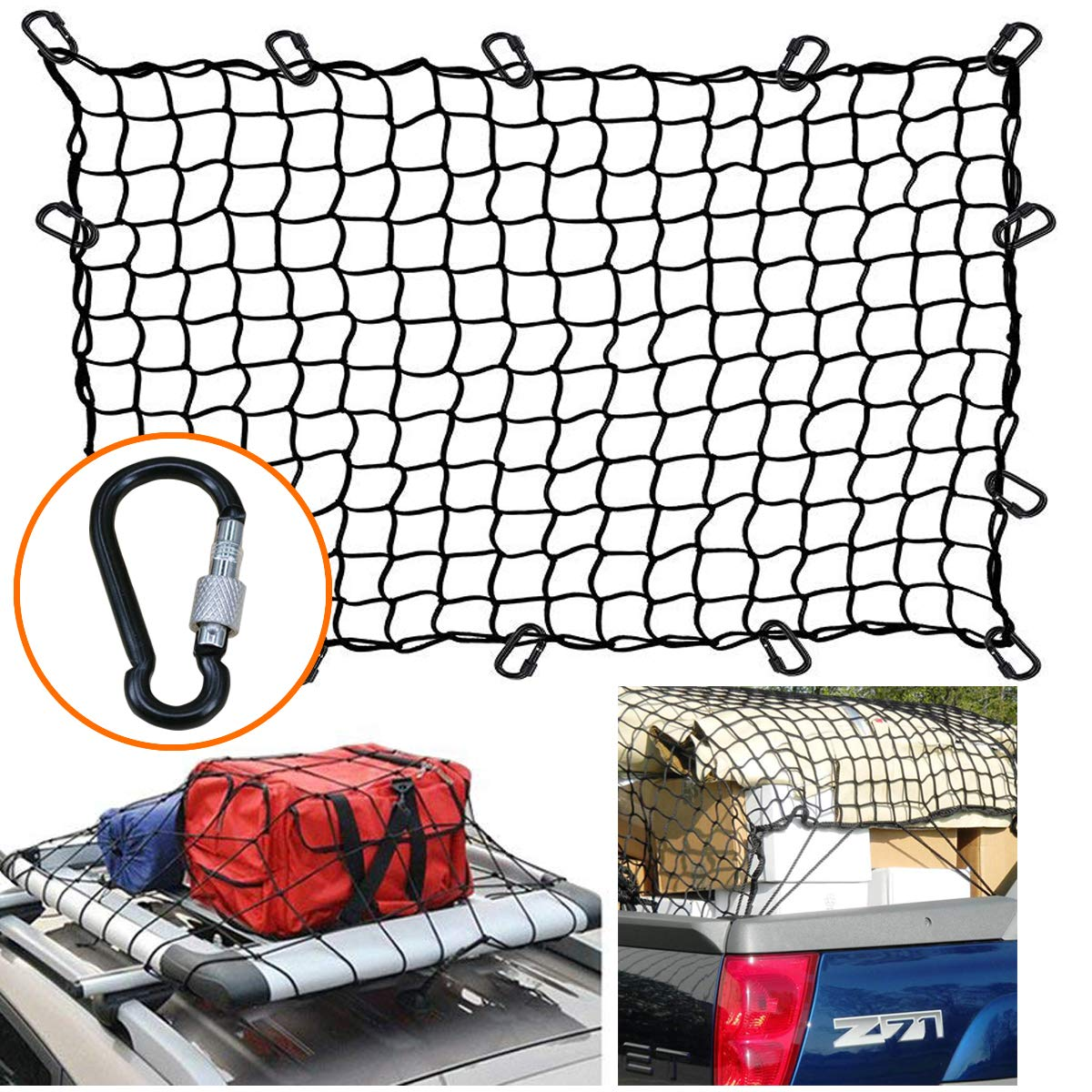GoBig Cargo Net 4' X6' Super Duty Bungee Cargo Net Stretches to 8'x12' 12 Tangle-Free D Clip Carabiners for Rooftop Cargo Carrier ATV UTV Cargo Hitch