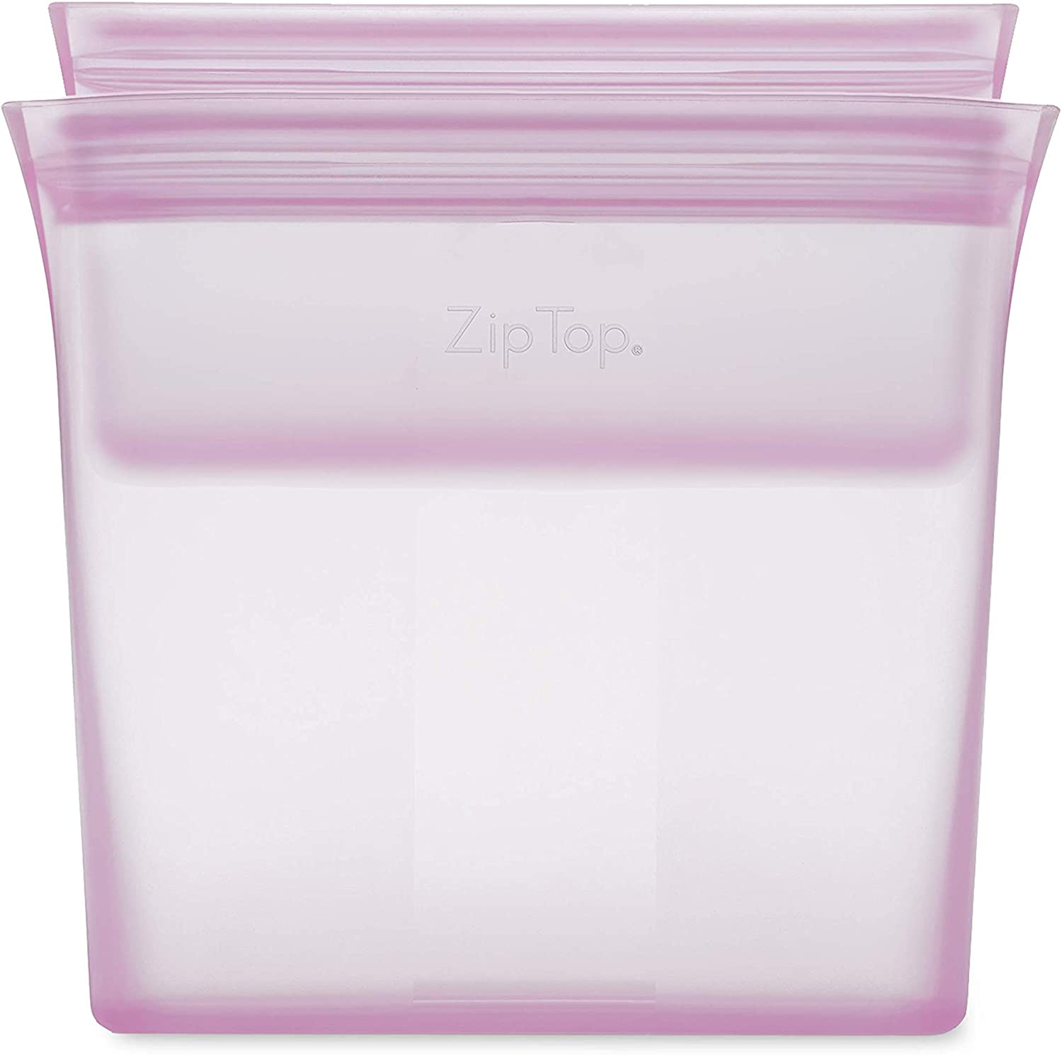 Zip Top Reusable 100% Silicone Food Storage Bags and Containers - 2 Bag Set - Sandwich & Snack Bags - Lavender