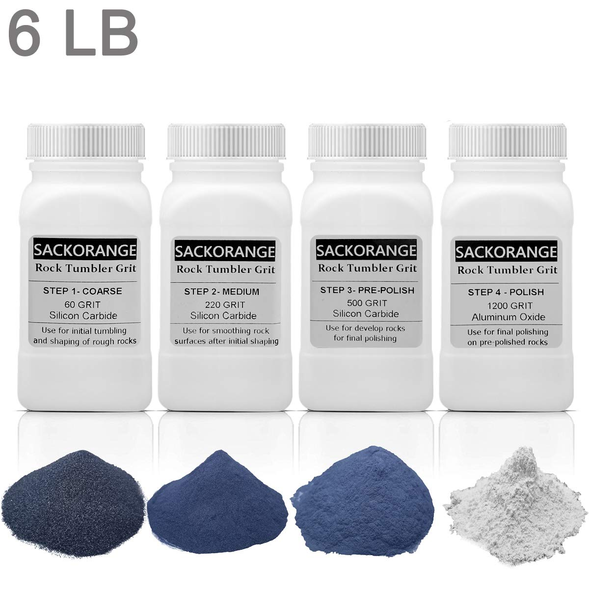 Sackorange 6 Pounds 4 Bottles Rock Tumbler Refill Grit Media Kit   4-Steps for Tumbling Stones, Compatible with National Geographic, Thumler, and Lortone Tumblers (6 LB Assortment) by SACKORANGE
