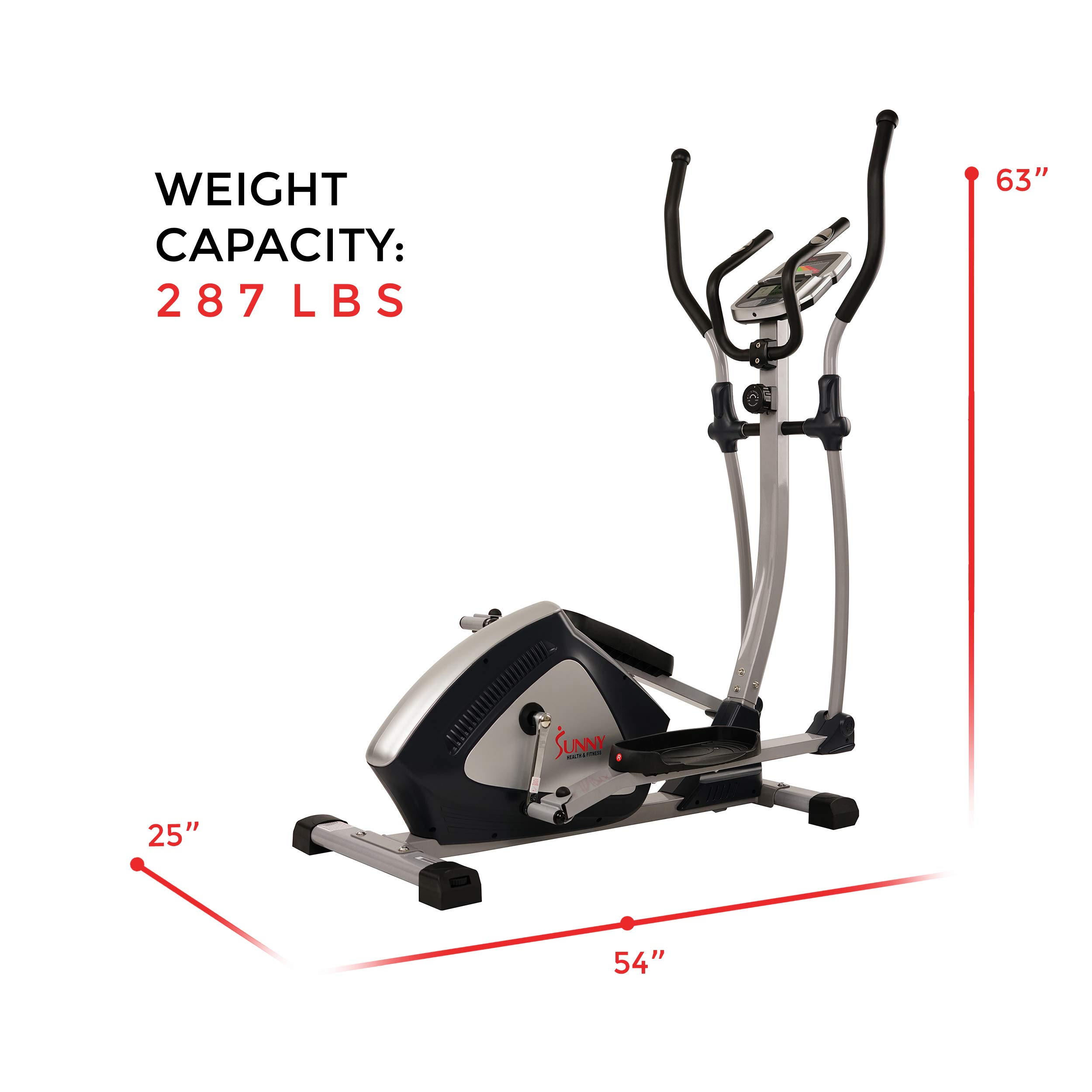 Sunny Health & Fitness Magnetic Elliptical Trainer Elliptical Machine w/  LCD Monitor and Heart Rate Monitoring - Endurance Zone - SF-E3804 by Sunny Health & Fitness (Image #13)