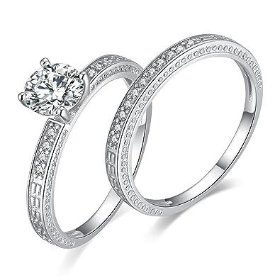 Jewelrypalace Bague De Fiançaille Mariage Alliance Zircon Cubique Pour Femme Fashion En Argent Sterling 925