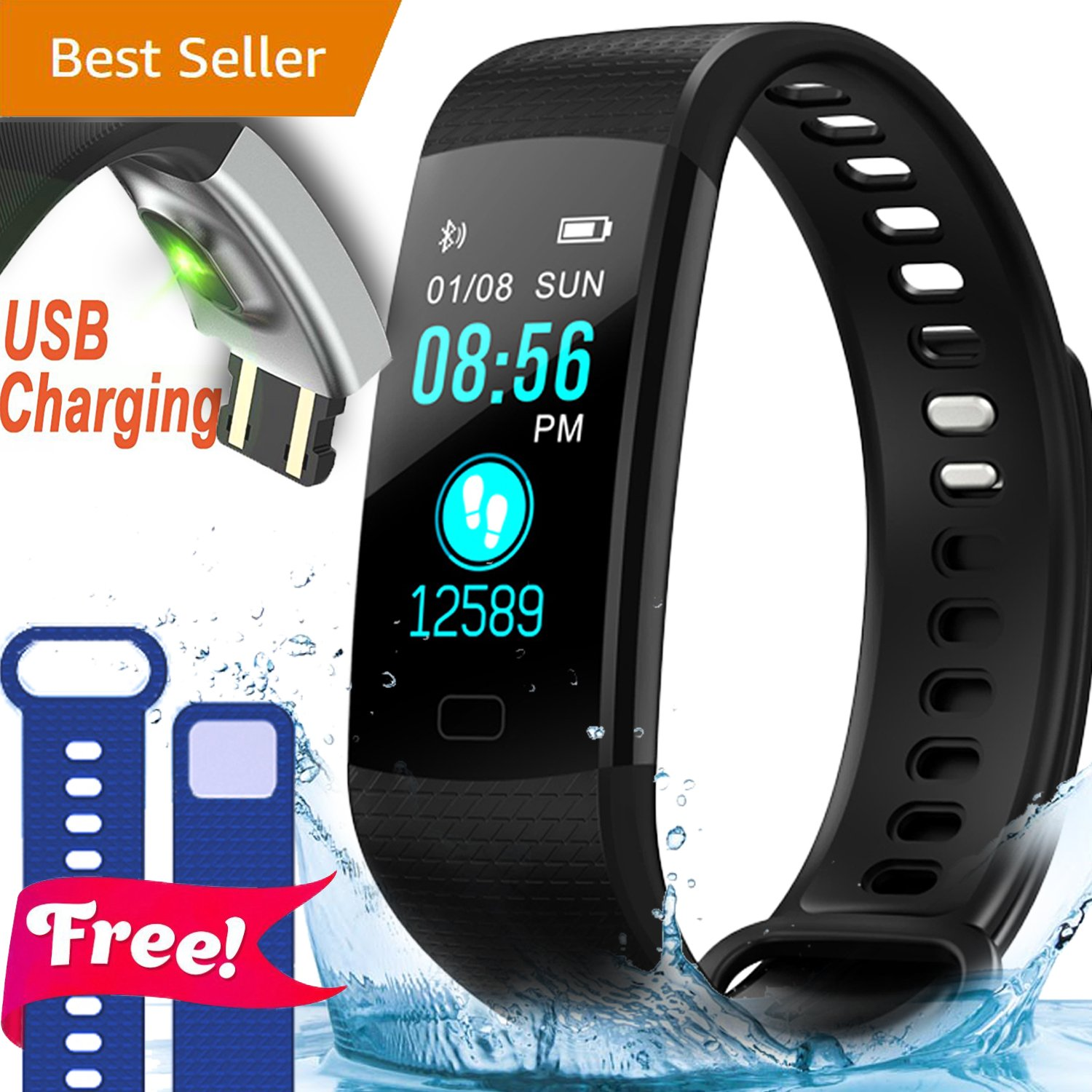 IP67 Fitness Tracker Smart Watch with Heart Rate Blood Pressure Monitor Color Screen Activity Tracker Smart Wristband Sleep Monitor Calorie Counter Pedometer 4 Sports mode Swim Run for Kids Women Men by Synmila