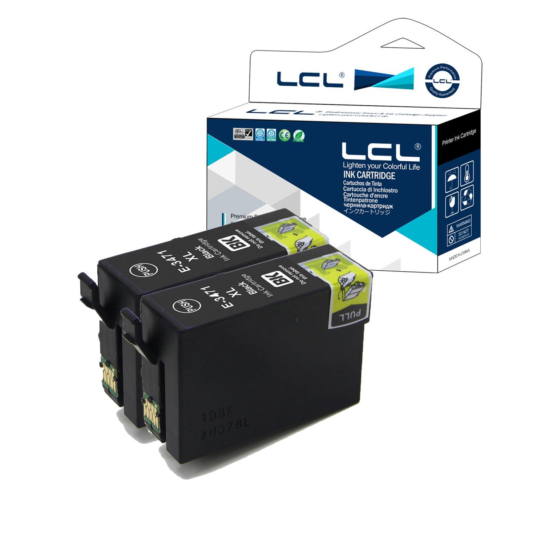 LCL Cartouche d'encre Compatible 34XL T3471(2 Noir) Remplacement pour Epson Workforce Pro WF-3720DWF WF-3725DWF