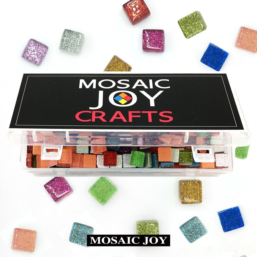Mosaic Joy 430 Pieces/1 Pound Assorted Colors Genuine Mosaic Tiles Glitter Crystal Mosaic for Home Decoration Crafts Sparkle Mosaic Supply 10 Colors Assorted, Square Shape 0.4x0.4 inch by Mosaic Joy