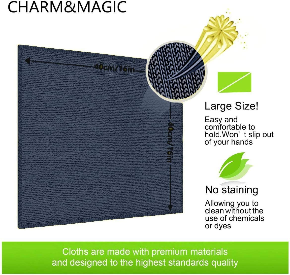 5 Noir + 5 Gris, 30 x 40 cm CHARM /& MAGIC Chiffon Nettoyant en Microfibre pour D/époussi/érer de Cuisine Tableaux Miroirs Bureau Voitures Lot de 10 unit/és