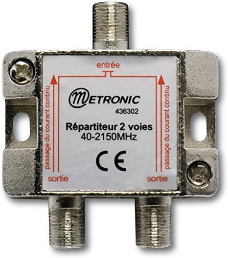 Metronic 436302 - Repartidor de señal TV metálico blindado 2 salidas con toma F, plateado